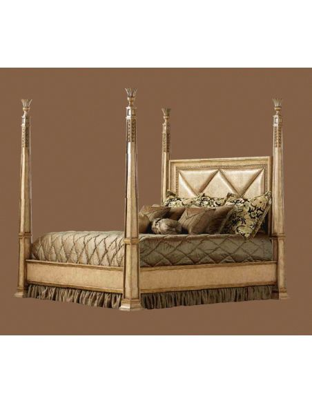Queen and King Sized Beds Four Poster Bed, Embossed Leather headboard.