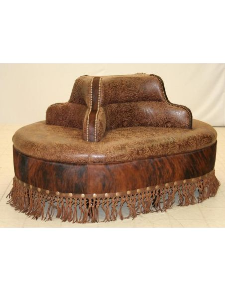 Four seater leather center bench