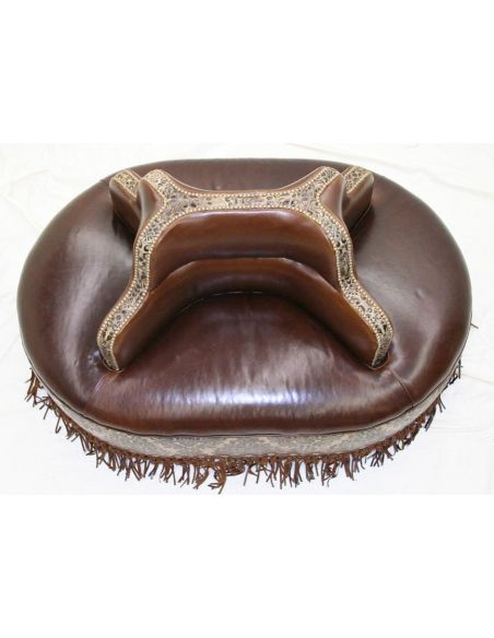Four seater leather center bench 4