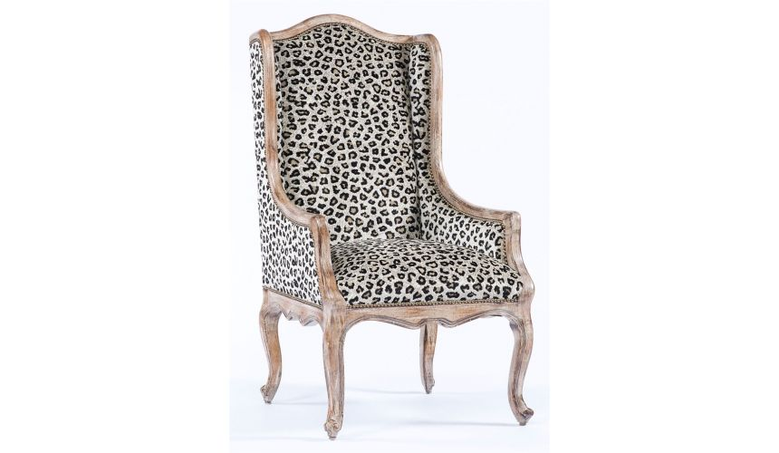 Luxury Leather & Upholstered Furniture French modern style living room chair. 85