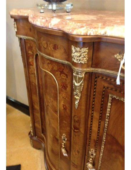 Breakfronts & China Cabinets French style, high end serpentine credenza.