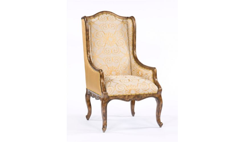 Luxury Leather & Upholstered Furniture French Style Fabric Accent Chair