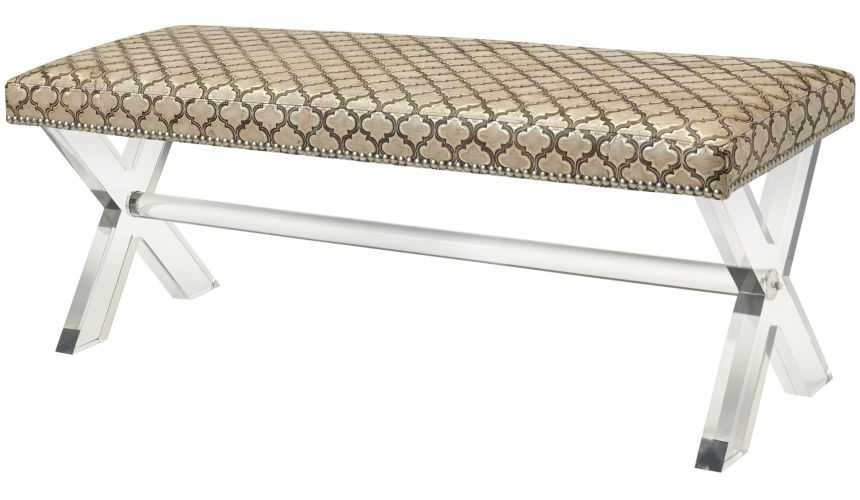 Luxury Leather & Upholstered Furniture Cross-Trestle Bench