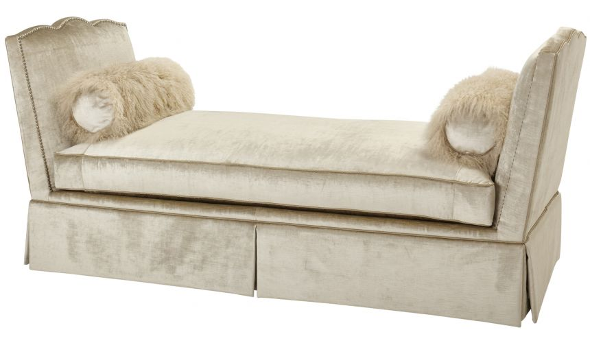 Luxury Leather & Upholstered Furniture Upholstered Daybed Sofa in Beige