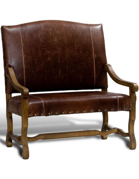 Luxury Leather & Upholstered Furniture Punched Leather Settee