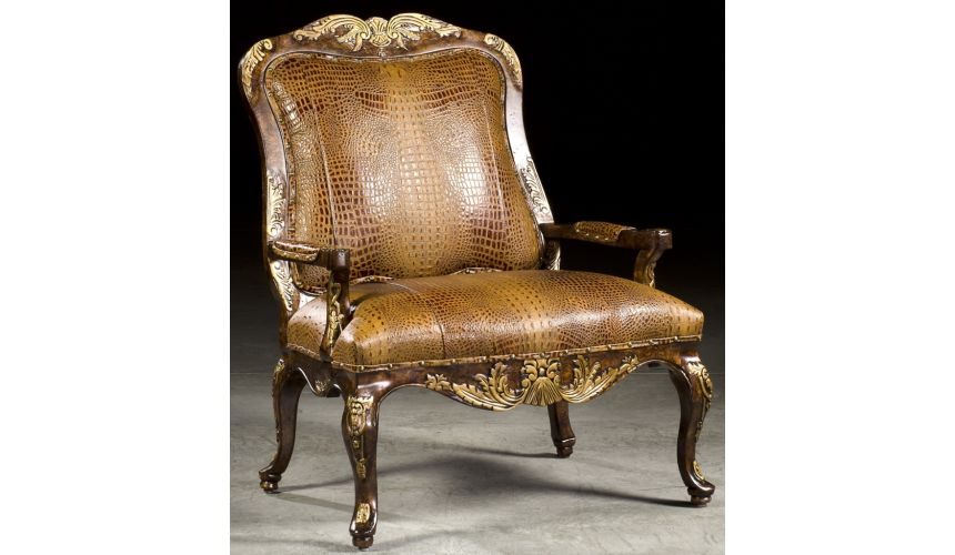 Luxury Leather & Upholstered Furniture Gator Leather Accent Chair