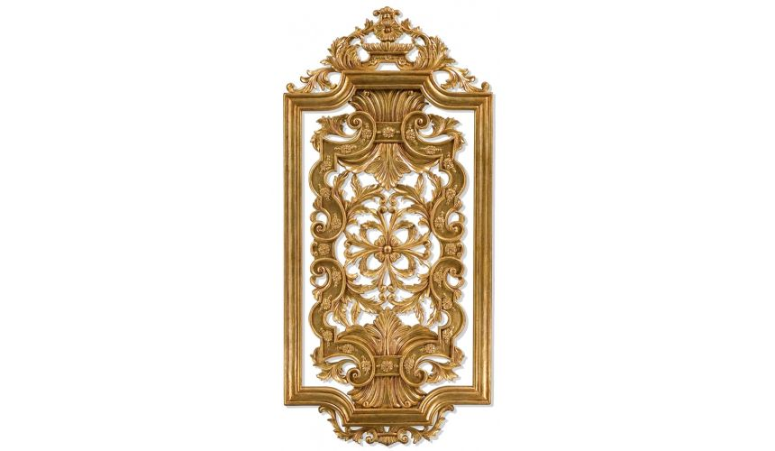 Hand carved pair of solid wood and gilded wall panel