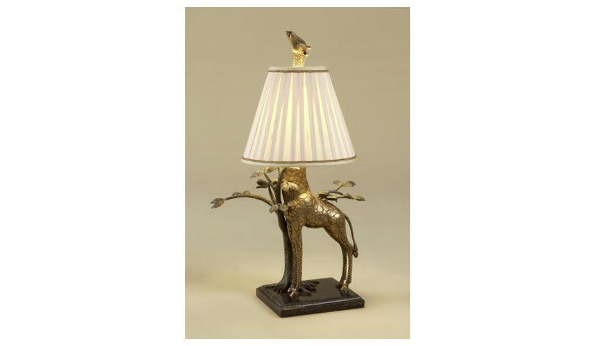 Lighting Whimsical giraffe table lamp. Brass with a granite base.