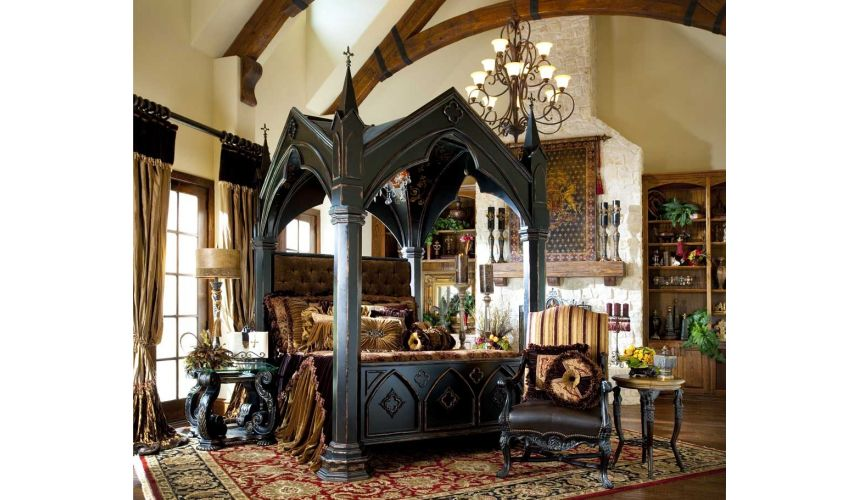 LUXURY BEDROOM FURNITURE Gothic Home Furnishings - Gothic canopy bed fashion forward Custom made