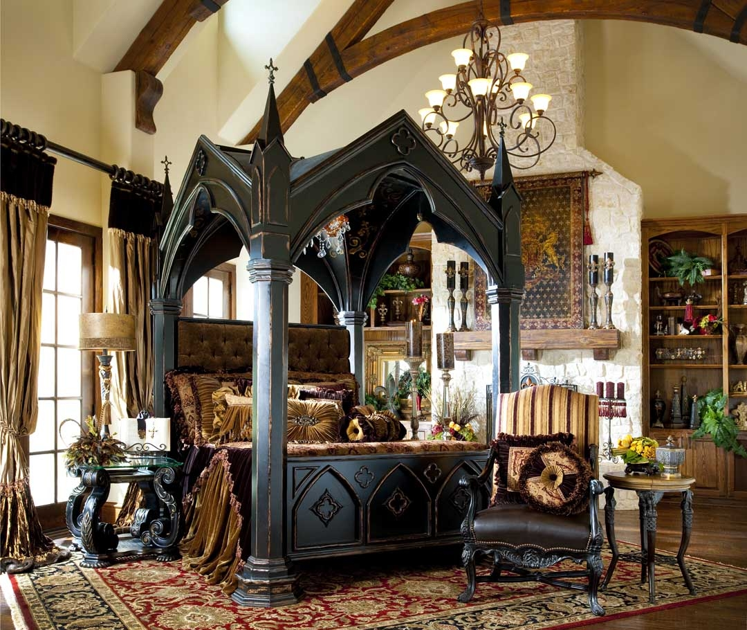 BEDS - Queen King u0026 California King Sizes Gothic Home Furnishings - Gothic canopy bed & Gothic Home Furnishings - Gothic canopy bed fashion forward Custom ...