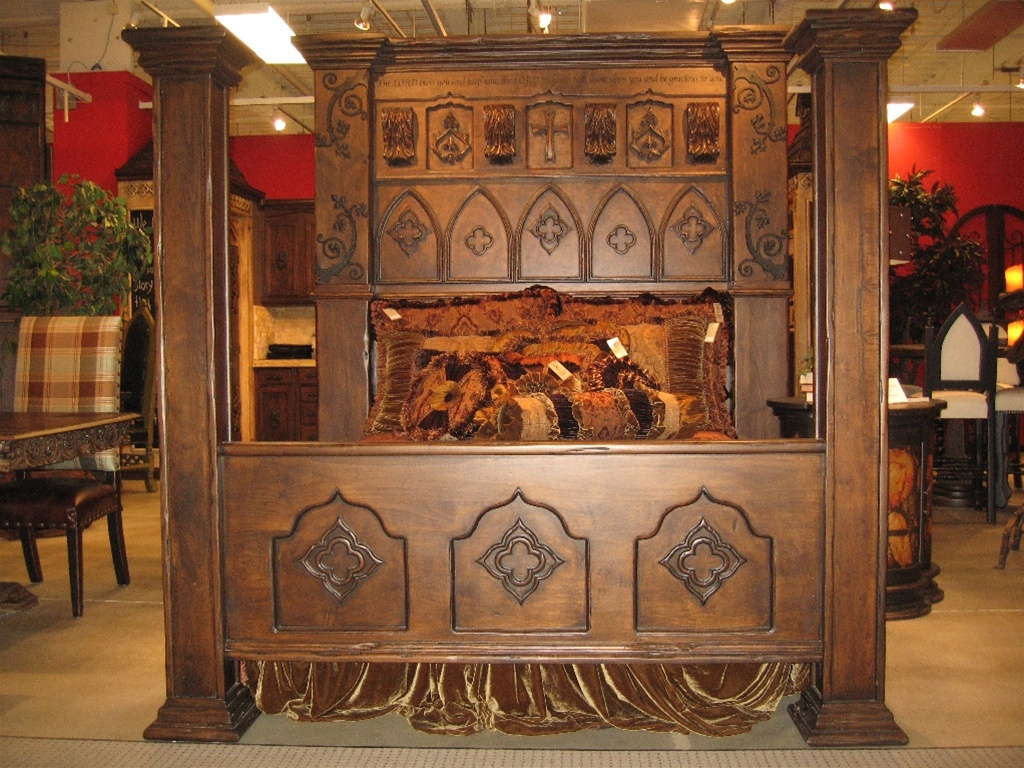 Custom made gothic high style bed high end bedroom set for High end canopy beds