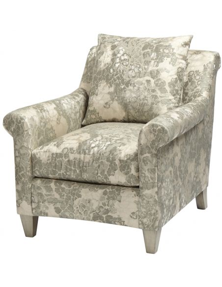 Luxury Leather & Upholstered Furniture Patterned Upholstered Arm Chair