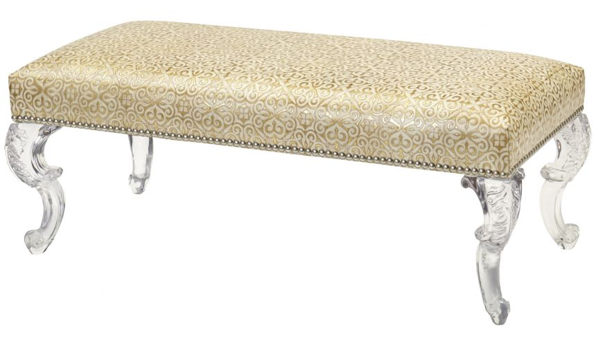 Luxury Leather & Upholstered Furniture Leather Upholstered Bench with beautifully curved legs
