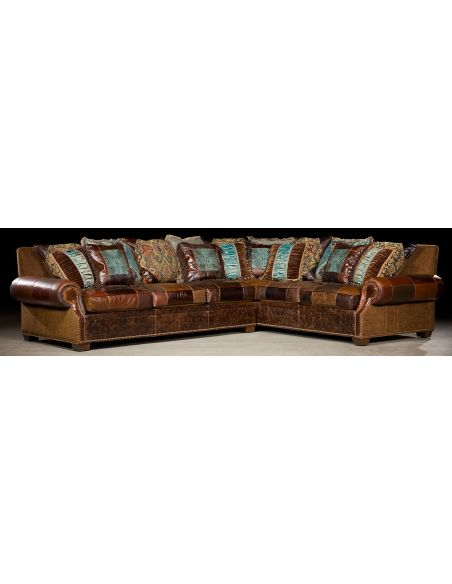 Luxury Leather & Upholstered Furniture Plush sectional sofa. Grand home furniture. 39
