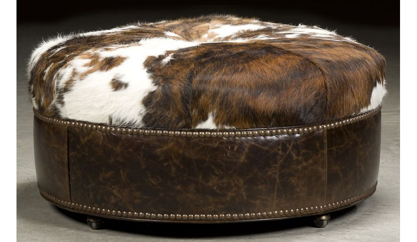 Luxury Leather & Upholstered Furniture Grand home round hair on hide ottoman. 62