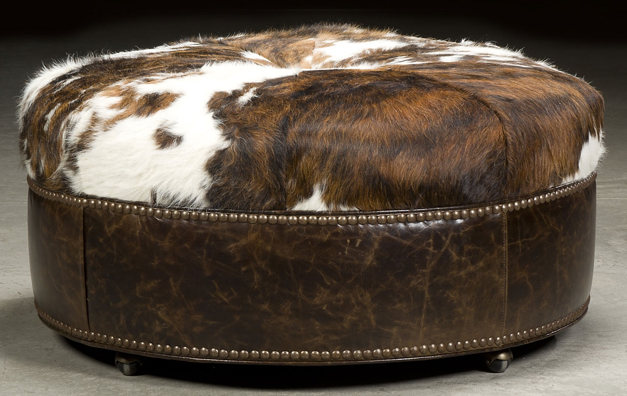 Luxury Leather Upholstered Furniture Grand Home Round Hair On Hide Ottoman