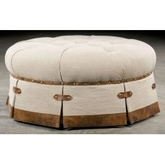 Grand home tufted round ottoman. 503