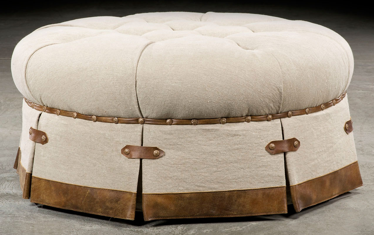 grand home tufted round ottoman 503. Black Bedroom Furniture Sets. Home Design Ideas