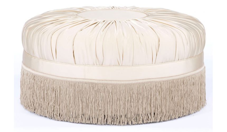 Luxury Leather & Upholstered Furniture Grand home luxury round ottoman. 71