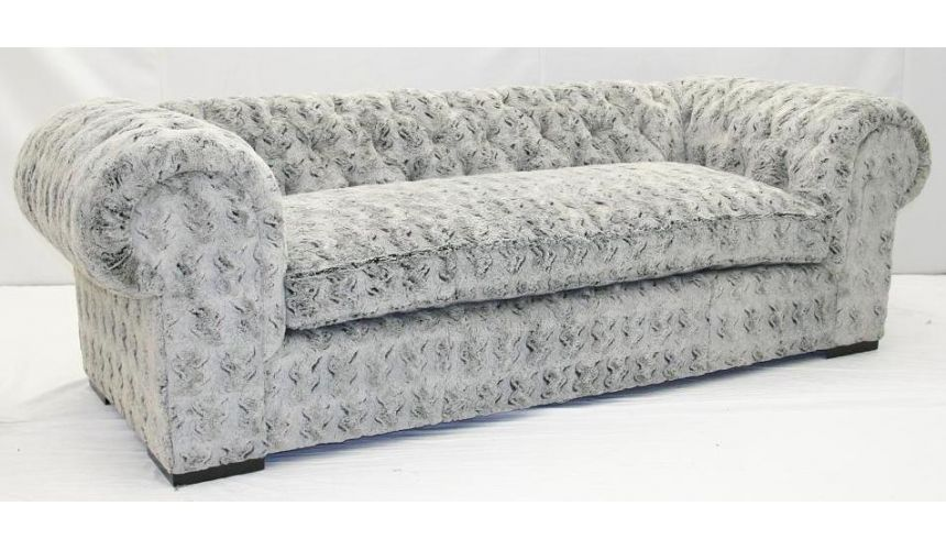 SOFA, COUCH & LOVESEAT Grey fox faux fur sofa. Crazy fun and comfortable.