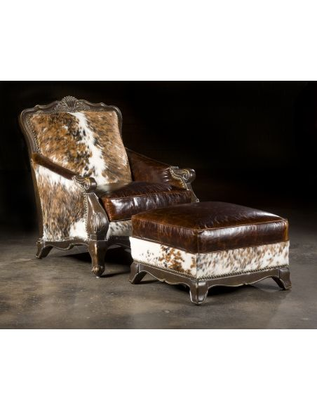 Luxury Leather & Upholstered Furniture Hair Hide Chair, Western Style Furnishings