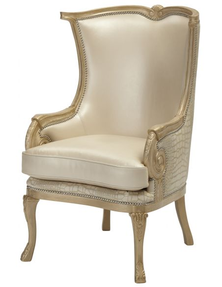 Luxury Leather & Upholstered Furniture Nail head Wingback Arm Chair