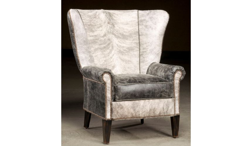 Luxury Leather & Upholstered Furniture High back accent chair. Hair hide and distressed leather.
