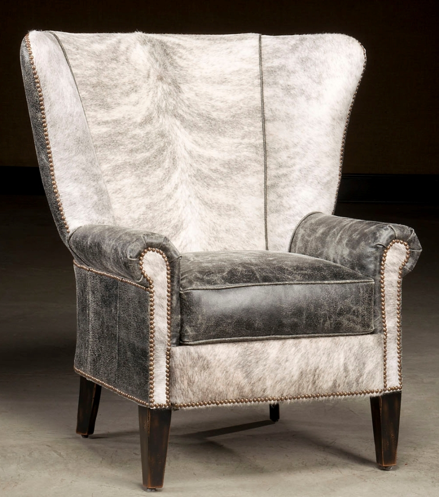 High Back Accent Chair Hair Hide And Distressed Leather