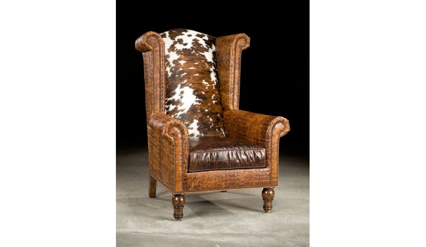 Luxury Leather & Upholstered Furniture High Back Leather Hair Hide Chair