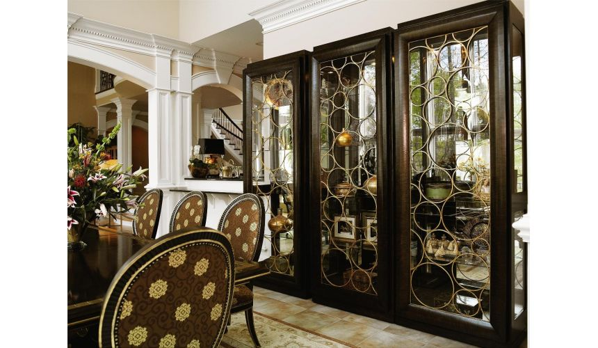 Dining Tables High end display cabinet. Modern furnishings.