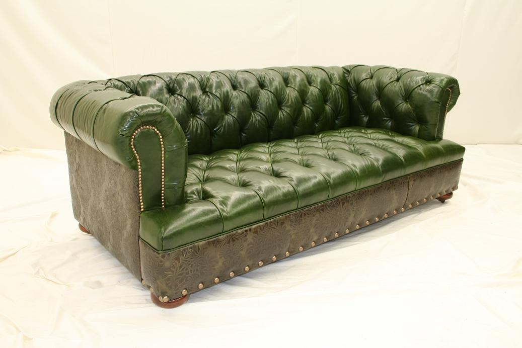 High End Furnishings, Green Leather Tufted Sofa 44