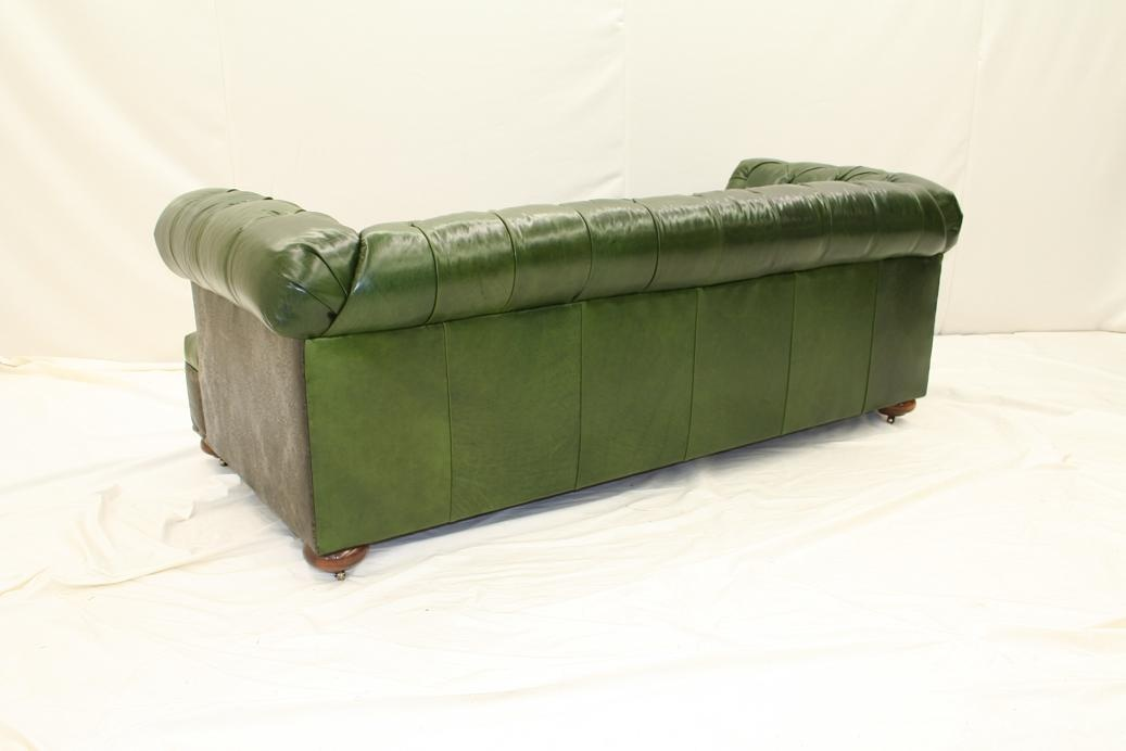 high end furnishings green leather tufted sofa 44