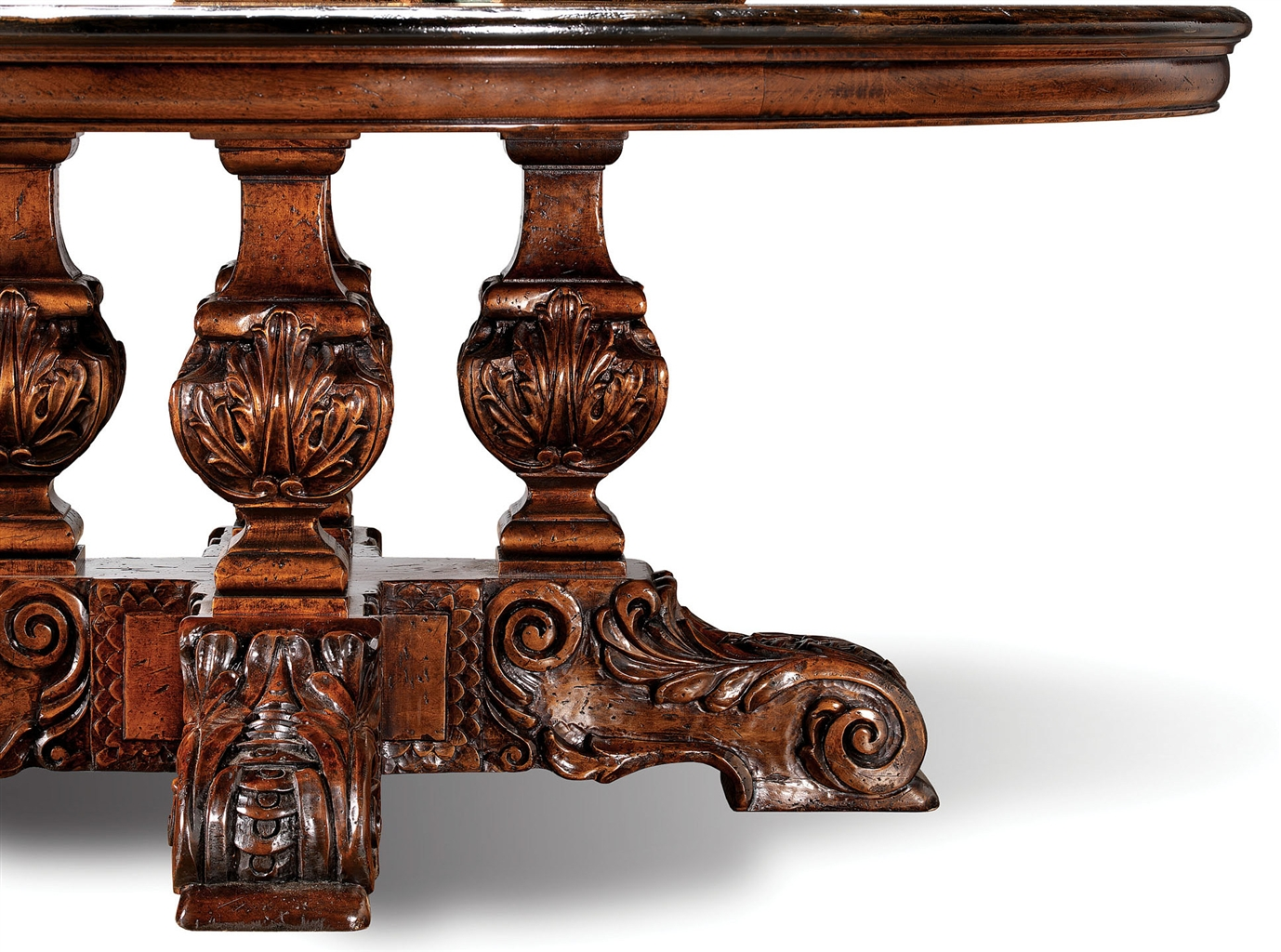 High End Furniture Solid Walnut Dining Table Hand Carved