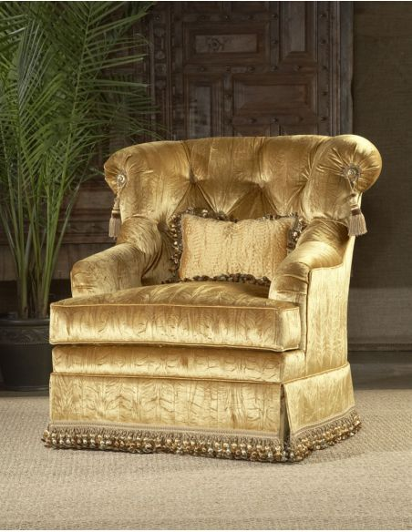 CHAIRS, Leather, Upholstered, Accent High style furniture luxury living room chair gold