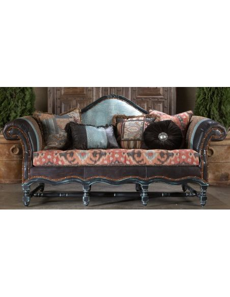SOFA, COUCH & LOVESEAT High style furniture mad blue lizard leather sofa