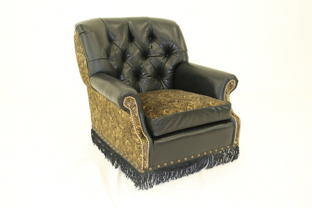 High Style Furniture Swivel Rocker Chair With Twisted Leather Fringe