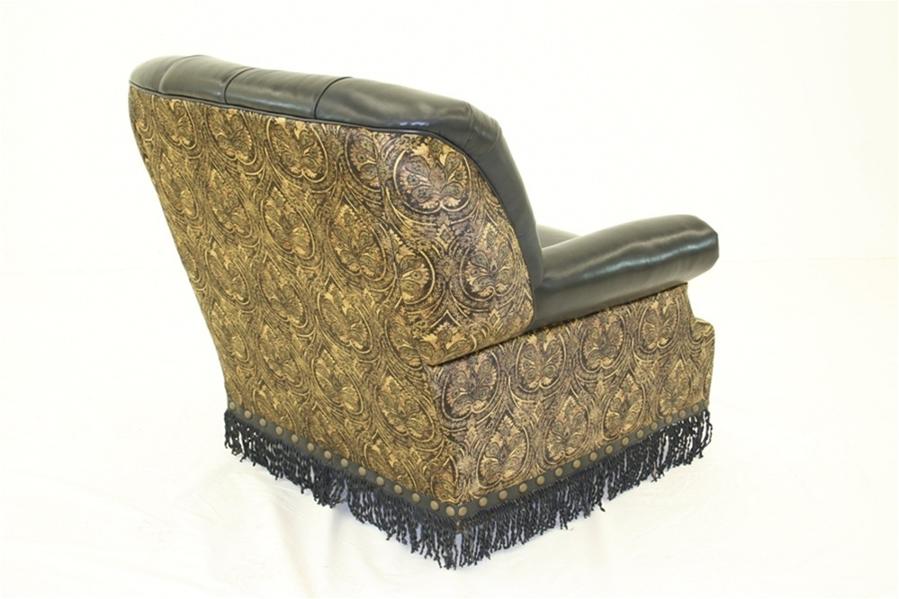 High Style Furniture Swivel Rocker Chair With Twisted Leather Fringe And Custom Nailing