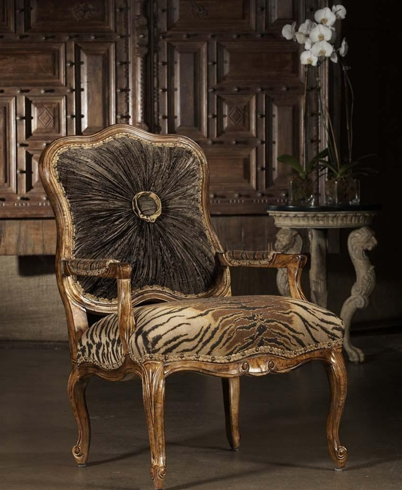 High style tiger print chair 230 for Styles of upholstered chairs