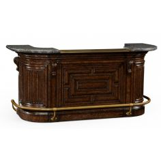 Home bar. Oak wood, granite top with brass rail