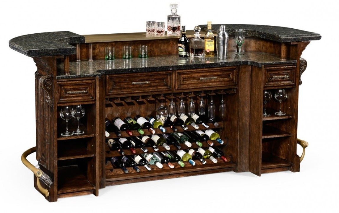 Superieur Home Bar Furniture Home Bar. Oak Wood, Granite Top With Brass Rail