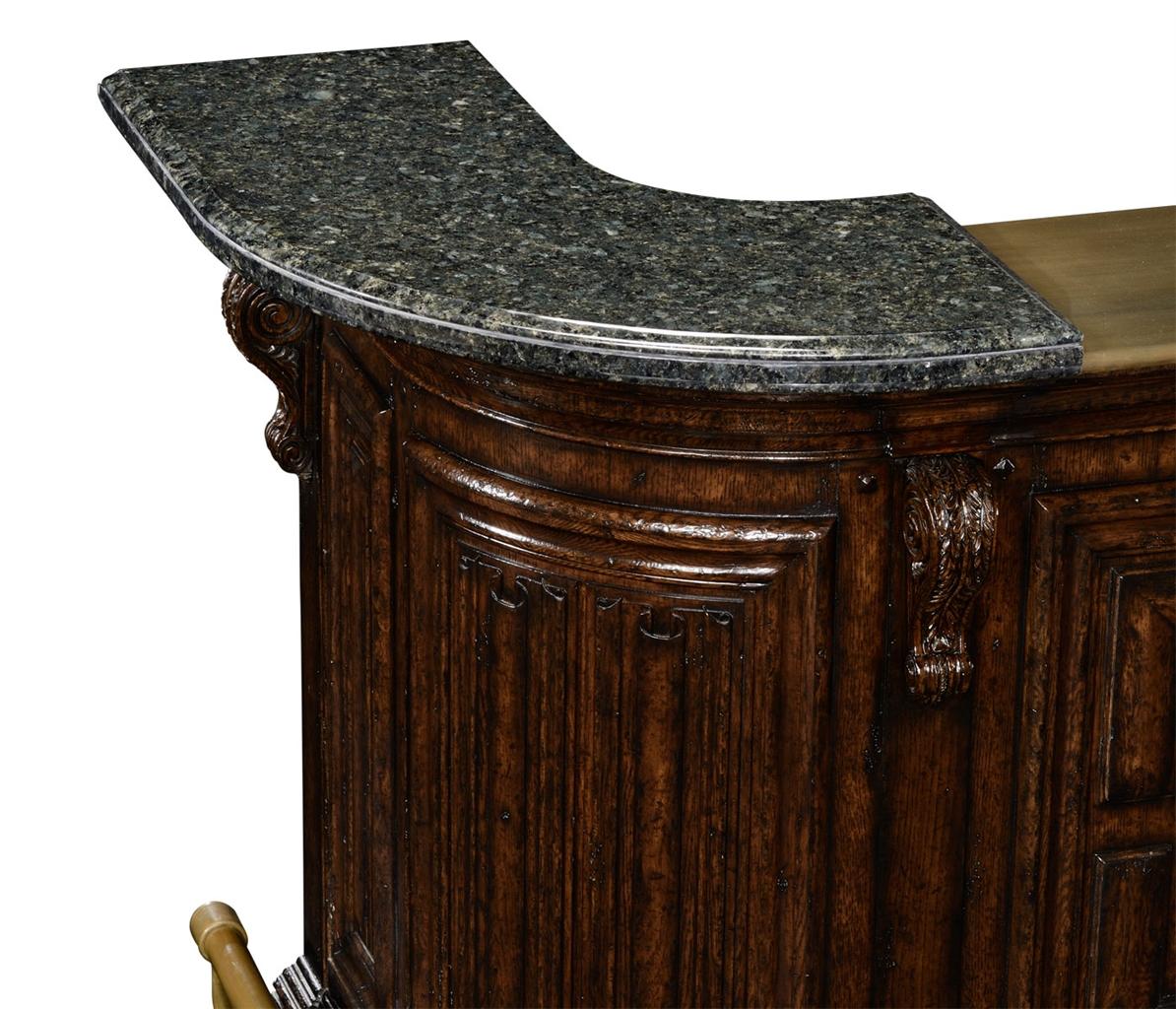 Home Bar Furniture Home Bar. Oak Wood, Granite Top With Brass Rail