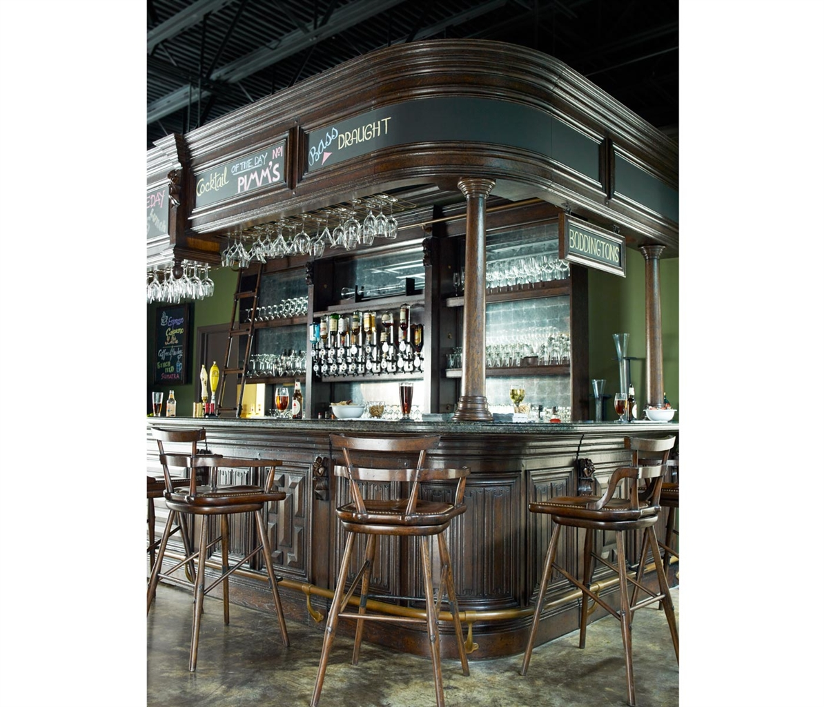 Home Bar Furniture Home Bar. Oak Wood, Granite Top With Brass Rail