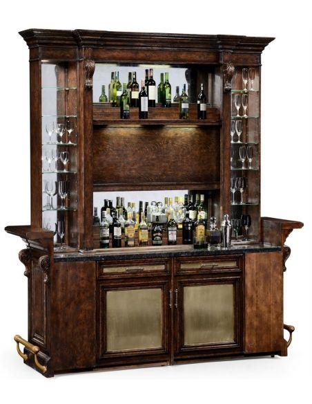 Home bar. Oak wood, granite top with brass rail