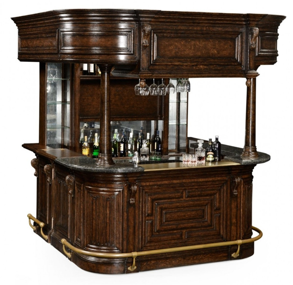Home bar oak wood granite top with brass rail and canopy for Bar at home furniture