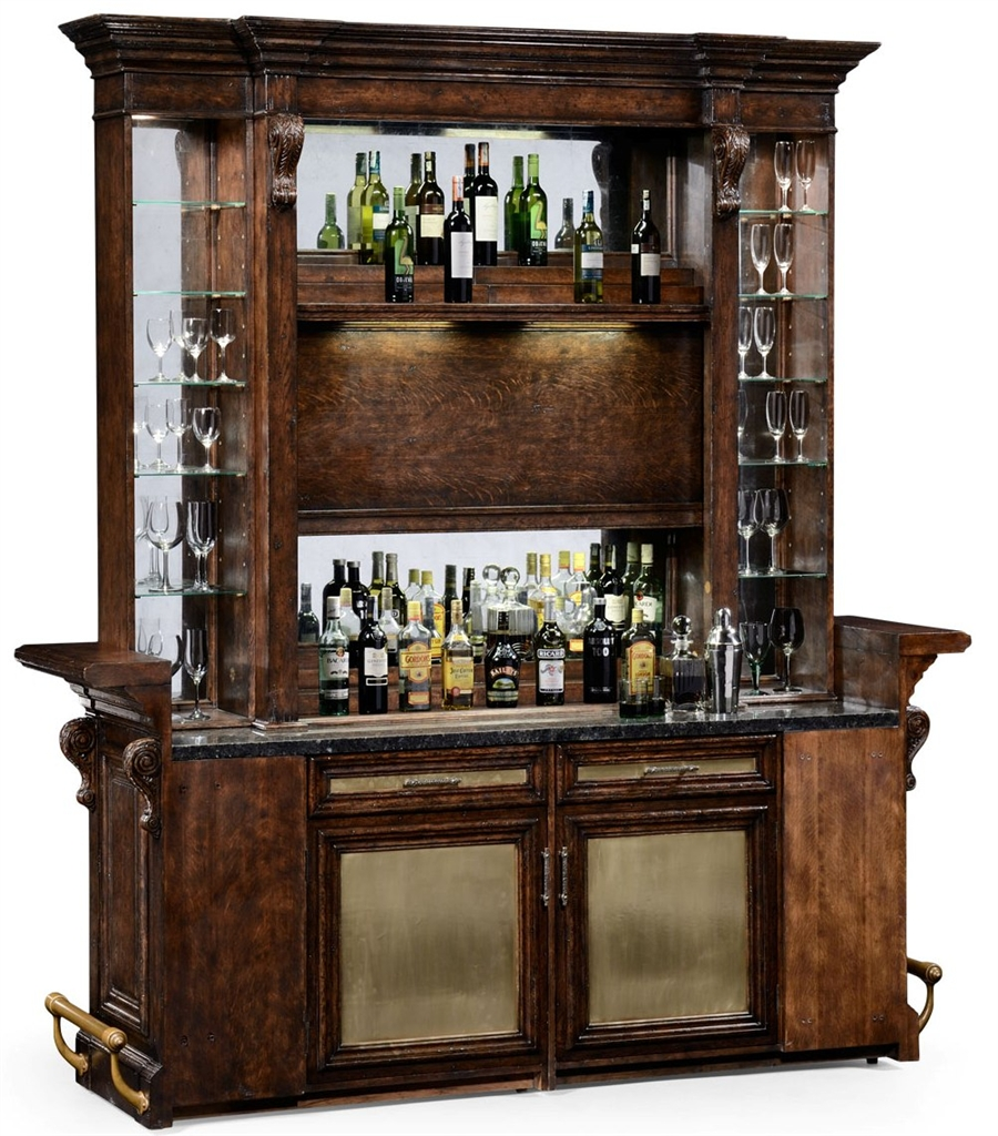 Charmant Home Bar Furniture Home Bar. Oak Wood, Granite Top With Brass Rail And  Canopy
