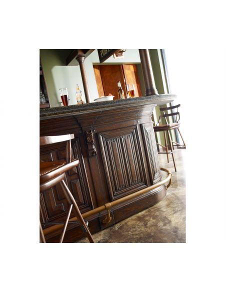 Home bar. Oak wood, granite top with brass rail and canopy