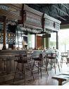 Home Bar Furniture Home bar. Oak wood, granite top with brass rail and canopy