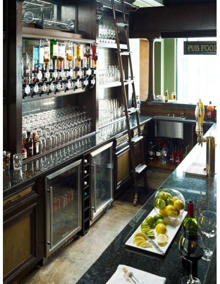 Home Bar Furniture Home bar. Oak wood, granite top with brass rail and canopy