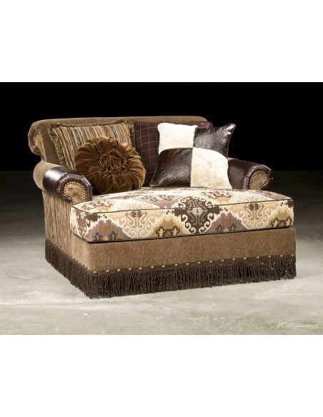 SETTEES, CHAISE, BENCHES Trendy Ikat fabric with leather Chaise