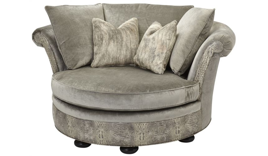 Luxury Leather & Upholstered Furniture Low Back Comfy Round Sofa